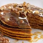 Pumpkin Pancakes with Sour Cream and Pecans. 6.5g Net Carbs!