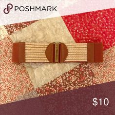 Belt Accessory belt to wear with a dress. Elastic band in the back. Tan and cream colored Accessories Belts