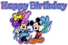 Mickey and Minnie birthday wishes Happy Birthday Glitter Images, Happy Birthday Disney, Happy 27th Birthday, Glitter Birthday, Minnie Birthday, Happy Birthday Cards, Birthday Gifs, Birthday Wishes Greetings, Birthday Wishes Quotes