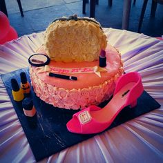 All edible 21st birthday cake. Rachel allens chocolate cake and fondant shoe and makeup