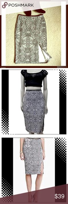 ✨EXPRESS✨ PAISLEY B & W PENCIL SKIRT w/ Front Slit GORGEOUS & SEXY Paisley Fully Lined Pencil Skirt With Front Slit. SO Gorgeous! Back Hidden Zipper and Clasp. Soft with Some Stretch. Size is 2, but Fits More Like a 4/6. Looks AMAZING With Black Boots or Booties! FABULOUS Skirt! Get the LOOK 👀 and Get the LOOKS! 😍 Express Skirts Pencil