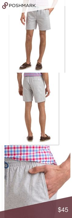 Vineyard Vines Cotton Linen Jetty Shorts Super comfy Vineyard Vines shorts with  easy pull-on fit. Drawstring for style, elastic waistband for comfort. Front slash pockets.   Fabric content: 72% cotton, 28% linen Vineyard Vines Shorts