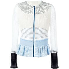 Peter Pilotto Radial Lace Jacket (37.539.940 VND) ❤ liked on Polyvore featuring outerwear, jackets, white, long sleeve jacket, white jacket, white lace jacket, zip front jacket and long sleeve lace jacket