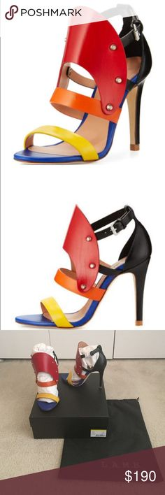 L.A.M.B. Gareth Cutout Studded Sandals These are very cute multi-colored sandals with red, orange and yellow straps. Buckles on the side. Heel is about 3.8in. Also features cute studded details. Brand new in box with dust bag. L.A.M.B. Shoes Heels