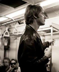 Paul Weller riding the Underground, London England.
