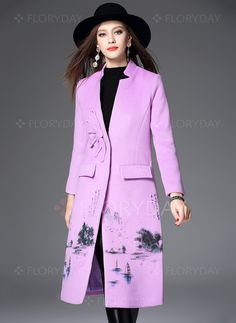 Coats & Jackets - $110.31 - Wool & Wool Blend Lilac Long Long Sleeve Stand Collar Coats & Jackets (1715116057)