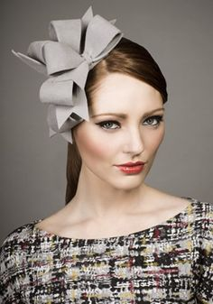 Rachel Trevor Morgan, A/W 2013 - Grey velour felt bows on Alice band. #passion4hats