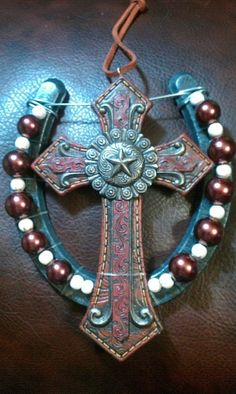 Hand Decorated Leather Cross Horse shoe by JLPHDesigns on Etsy, $19.99