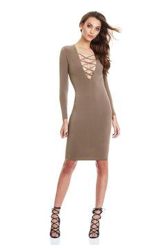 Vestidos Cotton Women Tie Up Autumn Bodycon Party Dress Sexy Deep V Neck Criss Long Sleeve Night Club Bandage Dress