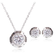 Jewelry Sets Women's Round Black love alphabet Studs platinum Plated Crystal Bridal Earrings Necklace Sets Anniversary gift
