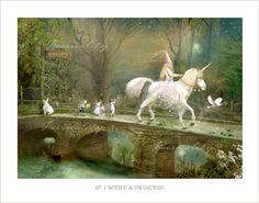 Fairy Print... Matted and hand signed print     ' If I were a Princess'  By Charlotte Bird