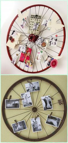 Bicycle Wheel Photo Wall Art - DIY Ways to Recycle Bike Rims