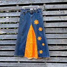 #Flower Power Long Jean Skirt - Hippie Long Jean Skirt with Daisies  jean skirt #2dayslook #jean style #jeanfashionskirt  www.2dayslook.com