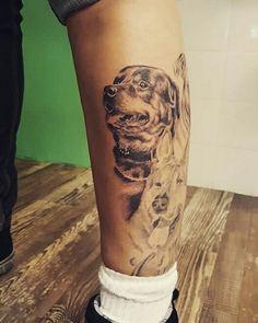 Rottweiler tattoo dog portret