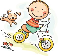 Buy Boy riding his tricycle by katya_dav on GraphicRiver. Little Boy Riding His Tricycle Cute Easy Drawings, Art Drawings For Kids, Drawing For Kids, Cartoon Drawings, Art For Kids, Tricycle, Logo Noel, Stick Figure Drawing, Cute Clipart