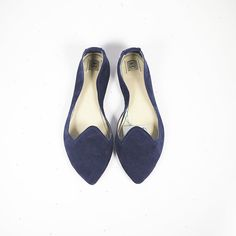 Pointy Navy Blue Handmade Leather Loafers Slip on Shoes