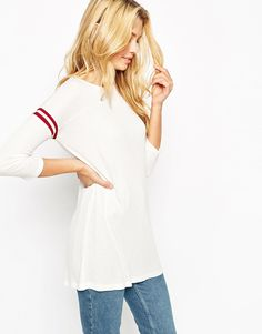ASOS Slouchy Rib Top With Stripe Sleeve Detail