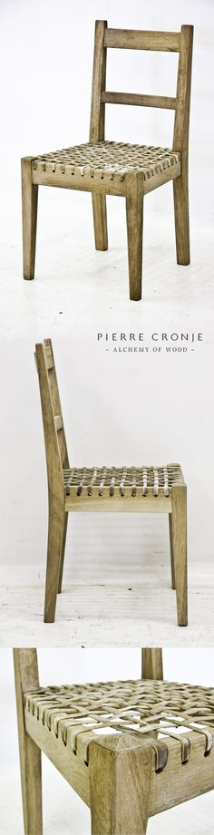 Pierre Cronje's 'Simply Pierre' Karoo Chair with riempie seat. French Oak with a blackwash finish. Also available with armrests. Dinning Chairs, Chair Bench, French Oak, Wooden Furniture, Furnitures, Chair Design, Shelf, Neutral, Interiors