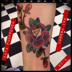 https://www.facebook.com/VorssaInk, http://tattoosbykata.blogspot.fi, #tattoo #tatuointi #katapuupponen #vorssaink #forssa #finland #traditionaltattoo #rose
