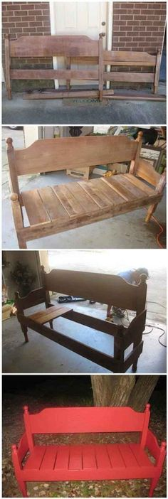 Woodworking Bench Outdoor Bench Ideas from Headboard that i really want do this Refurbished Furniture, Repurposed Furniture, Pallet Furniture, Furniture Projects, Furniture Makeover, Home Projects, Outdoor Furniture, Antique Furniture, Rustic Furniture