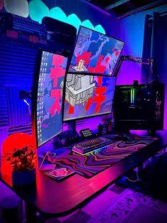 Gamer Bedroom, Bedroom Setup, Home Studio Setup, Home Office Setup, Gaming Desk Setup, Pc Setup, Twitch Streaming Setup, Lionel Messi Wallpapers, Gaming Station