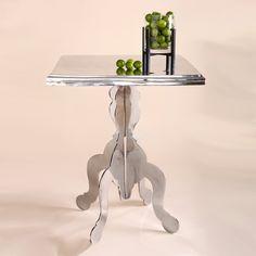 mirror finish square side table, polished aluminum