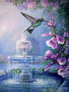 Hummingbird by the secret fountain  Painting  - Hummingbird by the secret fountain  Fine Art Print