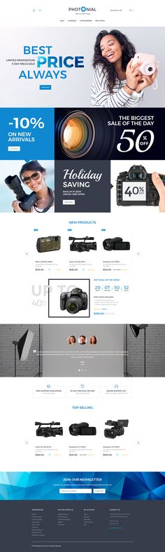 Photo Accessories Store Magento 2 Store - https://www.templatemonster.com/magento-themes/photonial-photo-video-store-magento-theme-62097.html