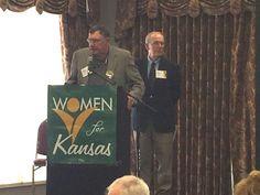 Former Kansas governors Mike Hayden, left, and John Carlin speak at a Women for Kansas forum on Saturday, May (Photo: KSN/Shardaa Gray) Think Before You Speak, Kansas, Saturday Morning, Public, Gray, Women, Grey, Woman