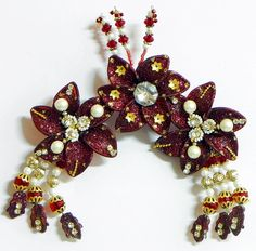 Maroon Flower Head Piece with Beads and Stone (Acrylic)