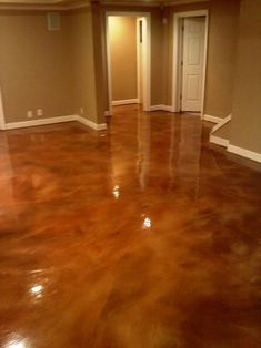Acid Concrete Stain instead of wood. For the basement. Love this idea, I've always been a fan of stained concrete. Acid Concrete, Concrete Floors, Concrete Staining, Polished Concrete, Cement Stain, Concrete Houses, Wood Stain, Basement Flooring, Basement Remodeling