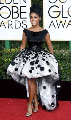 Janelle Monae Dress: Armani Privé Golden Globe Awards 2017, Fashion Slides, Celebrity Red Carpet, Celebrity Beauty, Celebrity Photos, Celebrity Style, Queen, Red Carpet Dresses, Golden Globes