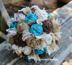 Turquoise Burlap and Lace Bride's Bouquets and Boutonnieres Custom Wedding Arrangements with Fabric Flowers. $75.00, via Etsy.