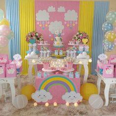 No photo description available. Unicorn Birthday Parties, Unicorn Party, Baby Birthday, Birthday Party Themes, Rainbow Party Decorations, Birthday Decorations, Cloud Party, Sunshine Birthday, Baby Shower Parties