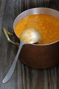 Red Lentil Soup with Sun-Dried Tomato Arugula Pesto - #recipe at cali=zona.com