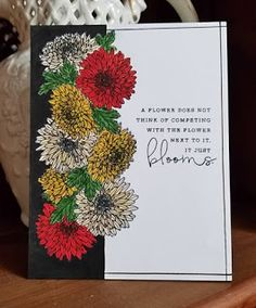 My card.  Using Papertrey Ink's Year of Flowers Collection and Choose Joy.  Masking flowers for a one layer card.
