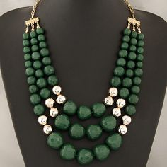 Acrylic Necklace, Zinc Alloy, with Acrylic, Round, gold color plated, green, lead & cadmium free, 400x500x600mm,china wholesale jewelry beads