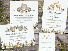 Rustic Boho Woodland Animal Wedding Invitations Hand-painted boho animal couples (deer, squirrels, otter) are the stars of this woodland-themed wedding invitation suite. Watercolor forest foliage provides a rustic touch. This design is perfect for outdoor weddings in the spring, summer, and autumn.