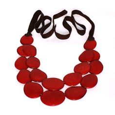 Statement Necklace  Dark Red Tagua Necklace  by ArtisansintheAndes