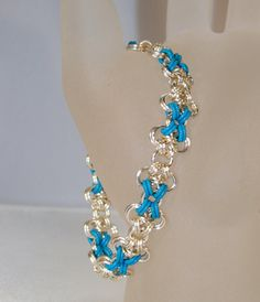 Silver Blue Cross Stretchy Chain Mail Bracelet by ArtisticTouches, $35.00