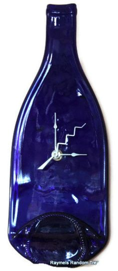 Wine Bottle Wall Clock Cobalt Blue slumped fused glass by RayMels, $24.95