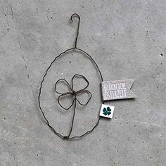 Frühlings Draht Ornament Osterei mit Kleblatt (Diy Ornaments Ideas)