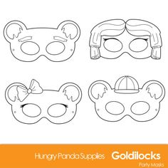 Goldilocks and the three bears DIY Printable Black and White Line Art Masks