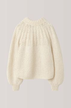 Ganni The Julliard Mohair Bow Pullover, Vanilla Ice Knitwear Fashion, Knit Fashion, Sweater Fashion, Knitting Designs, Knitting Stitches, Baby Knitting, Crochet Baby Boots, Knit Crochet, Hand Knitted Sweaters
