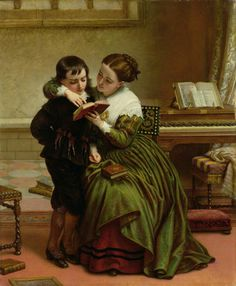 George Herbert and His Mother Painting by Charles West Cope | Oil Painting