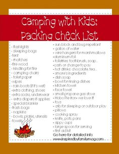 Camping with Kids: Packing Check List and Tips | Inspired By Family Magazine