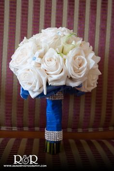 Wedding Flowers | Blue & White | White Roses | I like that the color is in the handle, not the flowers