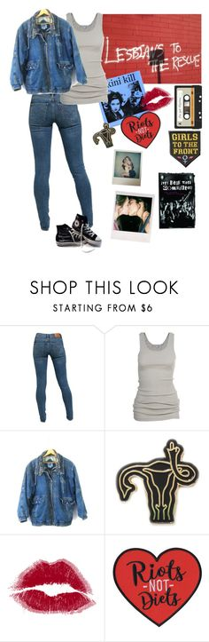 """""""1990s Riot Grrrl"""" by deathbyabloodyscythe ❤ liked on Polyvore featuring Levi's, James Perse and Polaroid"""