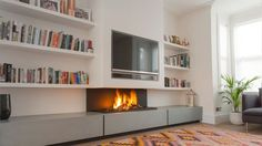A gas fireplace with TV above ! #nicelook