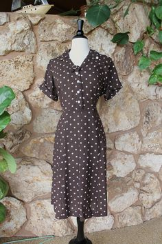 1950s Princess Label Brown Polka Dot Dress by ladyhogg on Etsy, $76.00